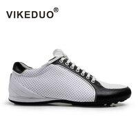 VIKEDUO 2018 Лето Горячие спортивная обувь Для мужчин белые босоножки Обувь из натуральной кожи Повседневное Модные дышащие Лоскутные Zapato Masculino