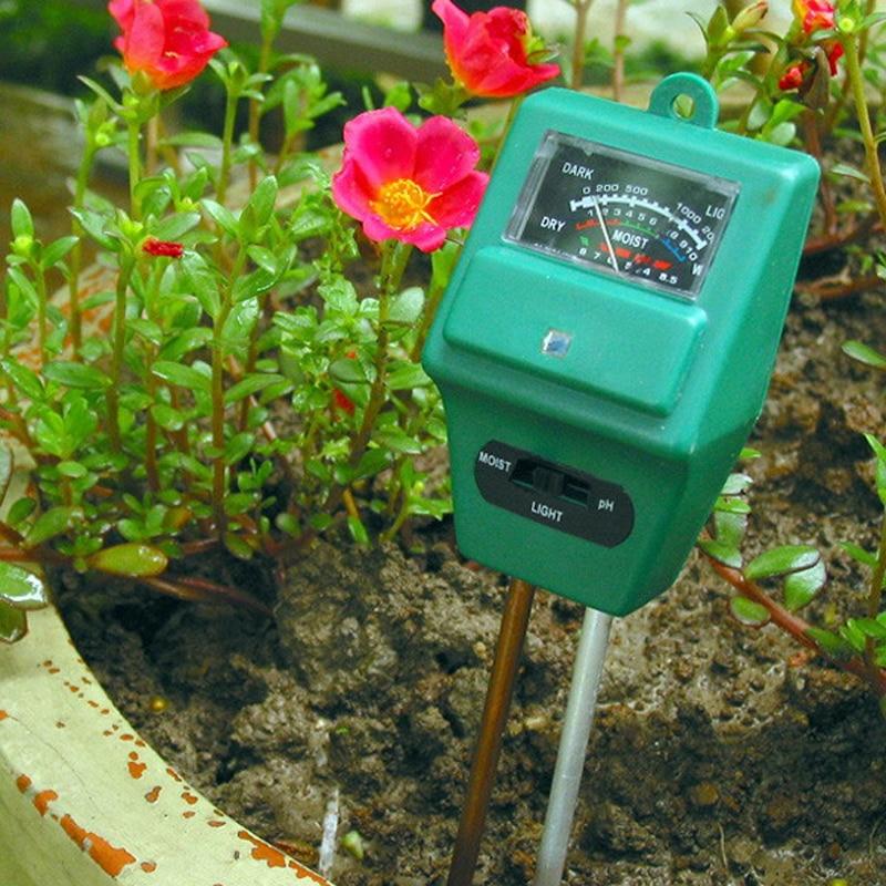 3 en 1 Humedad del suelo Luz del sol Medidor de PH Probador Planta Flores Analizadores digitales de suelo Probador para jardín Hidroponía Analizador de bricolaje