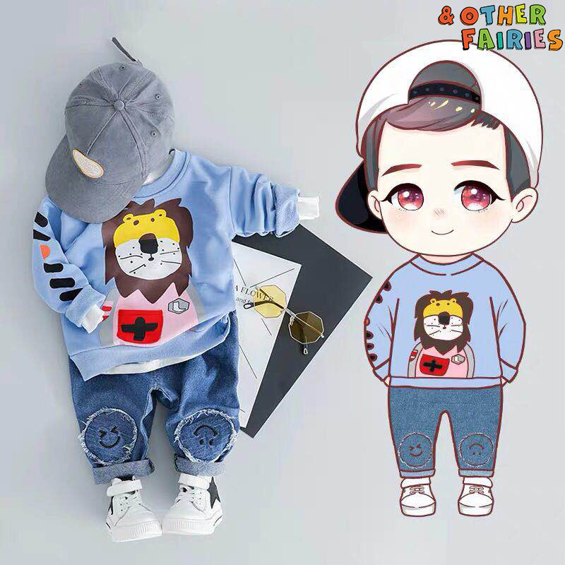 Baby Boy's Clothes Long-sleeved Warm New Suit Lion Bear Cartoon Printed Striped Cotton Clothes Casual Sports Baby Two-piece Suit