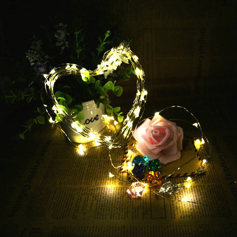 5m 50 Led Battery Operated Silver Wire String Fairy Light