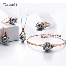 Big Sale Fashion Necklace Bangle Earrings Ring Best Gift For Mom Rose Gold Grey Pearl Trendy Leaf 4pcs Jewelry Set