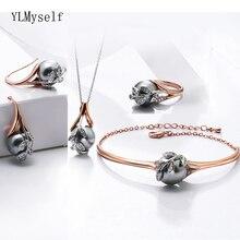 Collar, brazalete, pendientes, anillo, regalo para mamá, rosa, oro, Perla gris, hoja de moda, conjunto de joyería, 4 Uds.
