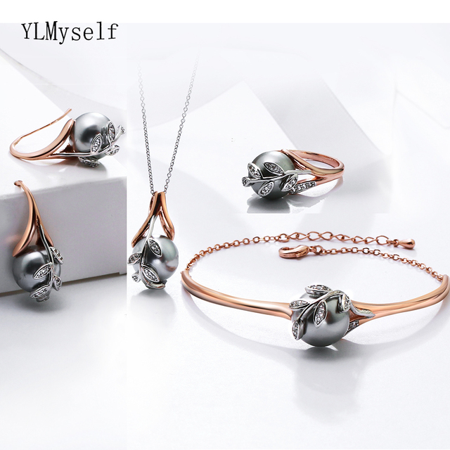 Świąteczny prezent dla mamy wielka wyprzedaż modny naszyjnik bransoletka kolczyki pierścionek różowe złoto szara perła modny liść zestaw biżuterii 4 sztuki