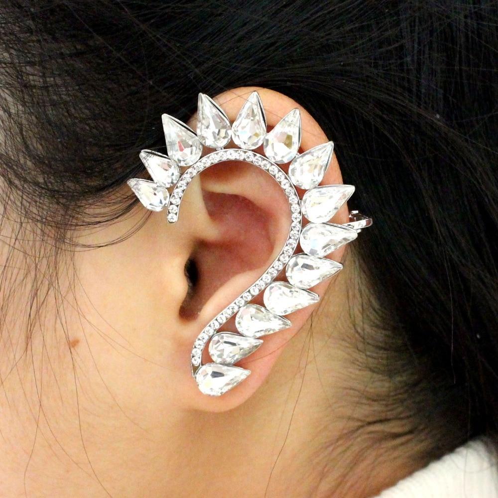 High Quality Newest Design Full Cz Crystal Sparkling Elf Ear Cuff Earrings