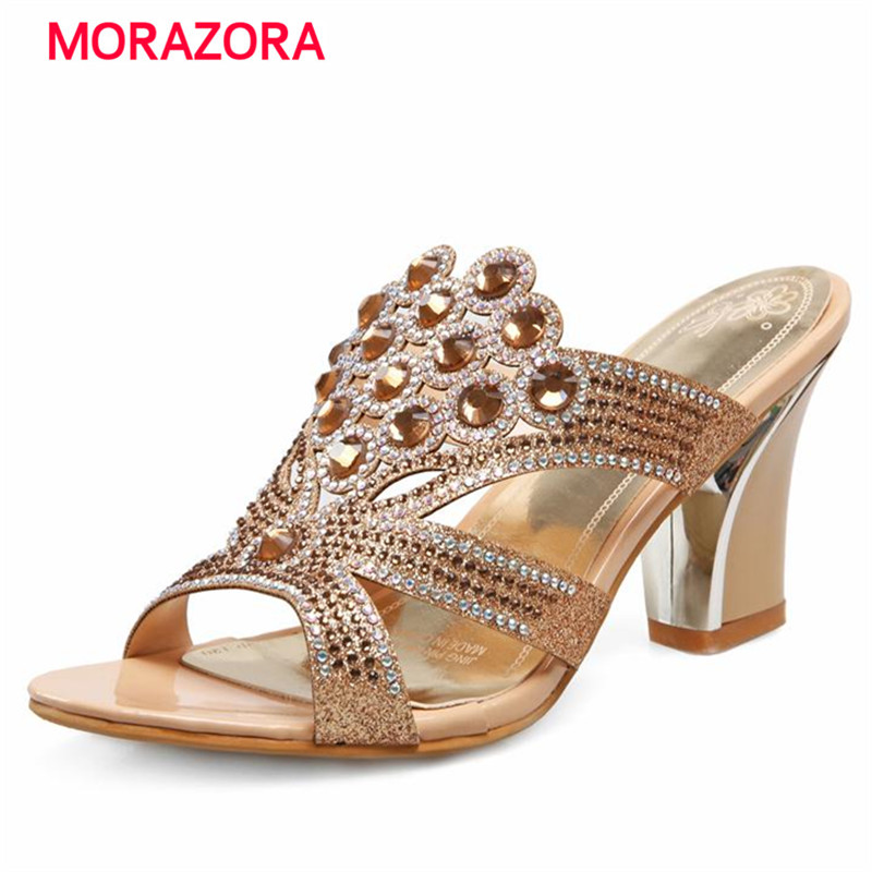 MORAZORA 2018 New arrive summer shoes women sandals rhinestone two colors ladies high heels party wedding shoes drop shipping