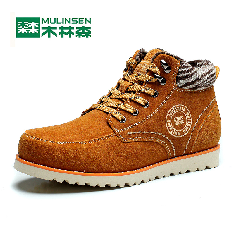 ФОТО Mulinsen Winter Men's Sports Hiking Shoes Blue/brown/orange Sport Shoes inside Plush Wear Non-slip Outdoor Sneaker 240911