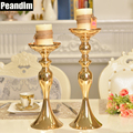 PEANDIM Wedding Decorations Metal Candle Stand Flowers Vase Candlestick Gold Plate Candle Holder