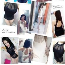 Купить с кэшбэком High Quality 2019 New Sexy Transparent lace One Piece Swimsuit Push Up Blue Black White High Neck Swimwear Women Bathing Suits
