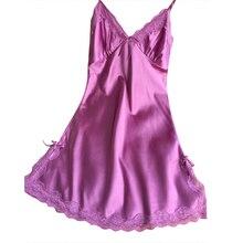 Womens Nightgown  Ladies Sexy Silk Satin Night Dress Sleeveless V-neck Nightwear Lace Nightdress sexy
