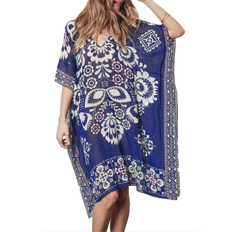 Womens Summer Chiffon Deep V-neck Beach Dress Ethnic Retro Geometric Floral Printed Bikini Cover Up Semi Sheer Oversized Loose P Women's Clothing