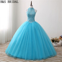 H&S BRIDAL Blue Ball Gown Quinceanera Dresses Halter Lace Prom Dress Beading Sweet 15 Year Princess Dresses Vestidos De 15 Anos