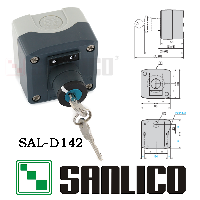 waterproof key switch control box key switch station (LA68H-D XAL)SAL-D142 IP65 цены онлайн