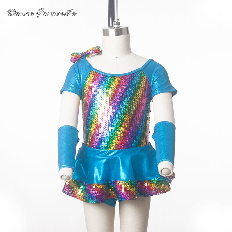 Two in one jazz/tap dance costume, women & girl rainbow sequin bodice ballet dress dance costume