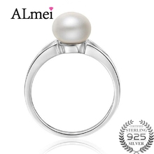 Almei 2017 New Trendy Pink Pearl Jewelry Luxury Rings 100% Genuine Real Natural Freshwater Ring for Women with Box 40% LJ084
