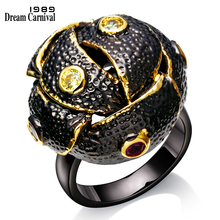 DC1989 Unique Black Dome Engagement rings Brand New Black Gold Plated Environmental Friendly Lead Free Party Ring