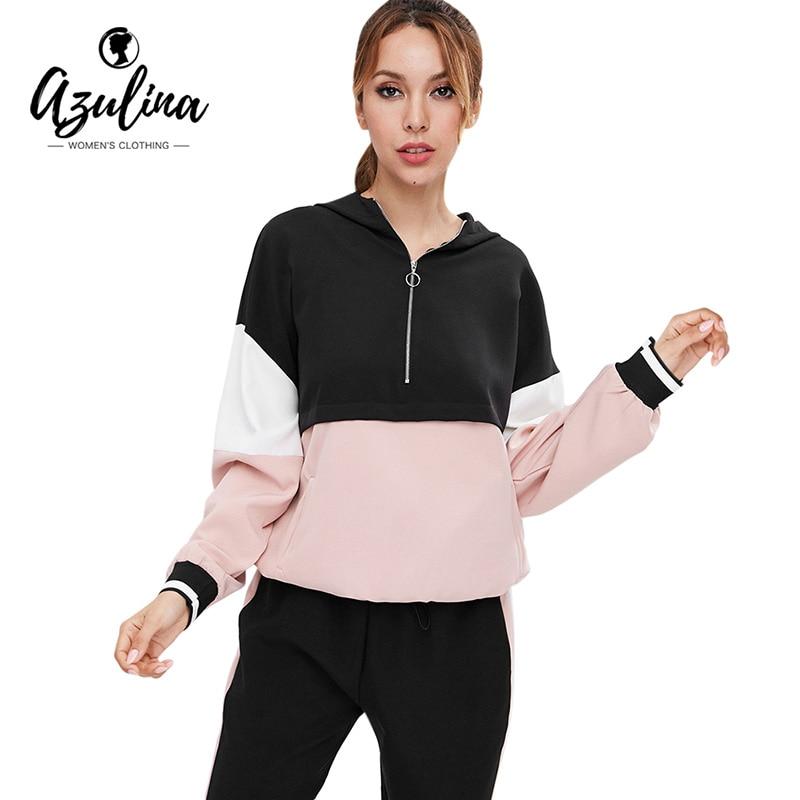 AZULINA Half Zip Color Block Drawstring Hoodie Women Hoodies Sweatshirts  Autumn Winter Pullovers ef05b0222
