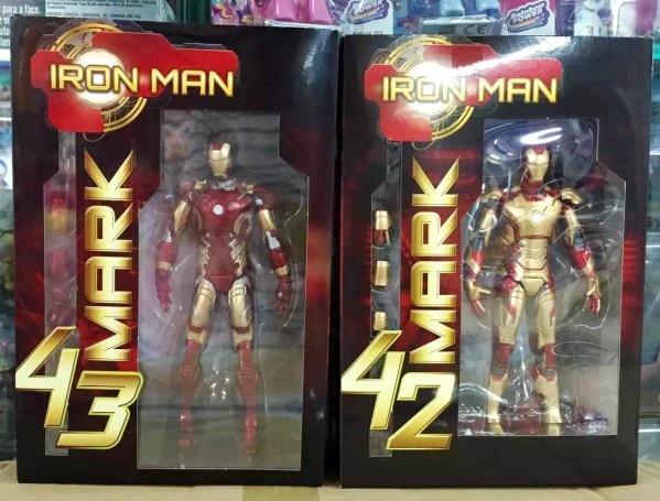 Marvel The Avengers Stark Iron Man 3 Mark VII MK 42 43 MK42 MK43 PVC Action Figure Collectible Model Toys 18cm KT395 marvel the avengers stark iron man 3 mark vii mk 42 43 mk42 mk43 pvc action figure collectible model toys 18cm kt395
