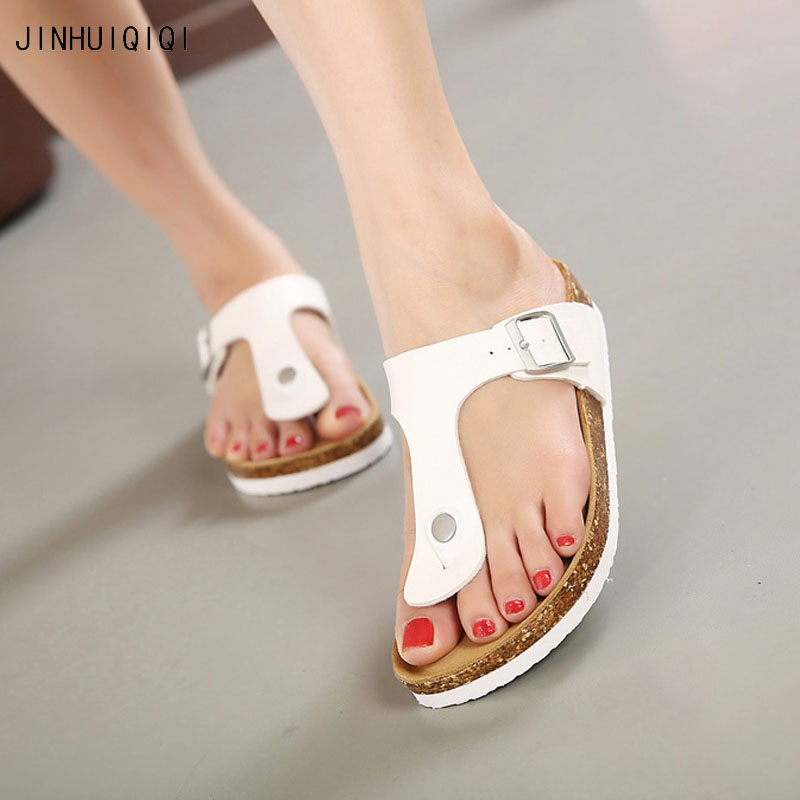 Summer Slides Women 2018 Flip Flops boho beach slippers genuine leather sandals Casual flat shoes women cork sandals 2018 new summer style beach cork slipper flip flops sandals women mixed color casual slides shoes flat with plus size 35 45