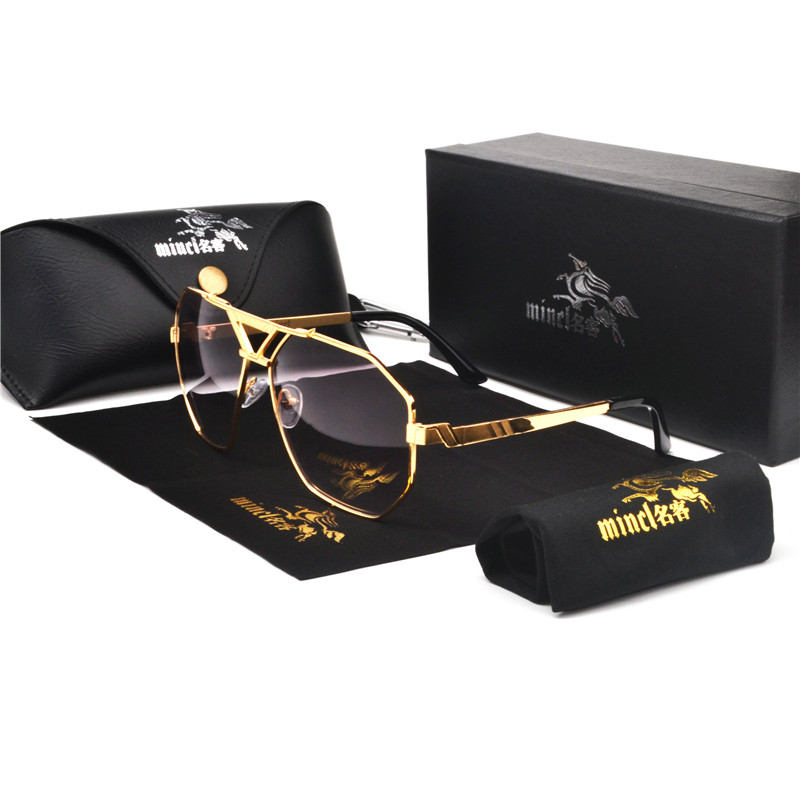 MINCL/New Style 2019 Luxury Brand Designer Sunglasses Men Vintage Oversized Glasses Man NX 1