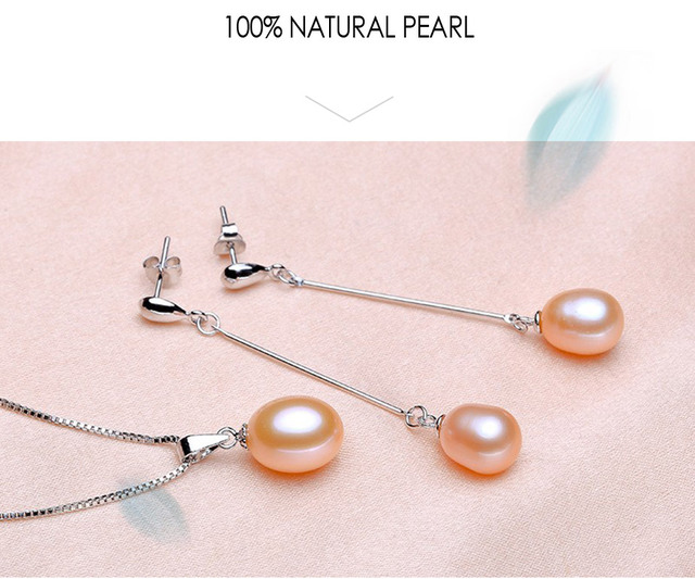 925 Sterling Silver Jewelry Set Necklace and Earrings with 9-10mm Natural Freshwater Pearls