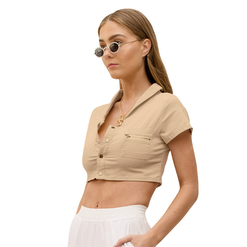 2019 Summer New Fashion Trend Women 39 s Solid Color Lapel Cardigan Exposed Navel T shirt Sexy Nightclub T Shirt Women in T Shirts from Women 39 s Clothing
