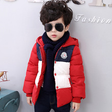 Boys Down Jacke 2016 Winter New Children s Fashion Thick Warm Spell Color Cotton Jacket Kids