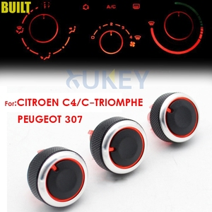 For PEUGEOT 307 CITROEN C-TRIOMPHE C4 Switch Knob Heater Climate Control Buttons Dials Frame AC Air Con Cover Heat(China)