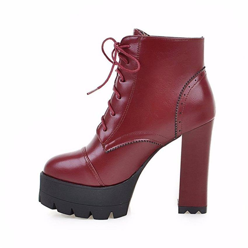Spring Autumn Platform Square High Heels Ankle Boots Women Short Boots Ladies Shoes botas botte femme Plus Size 34-40.41.42.43
