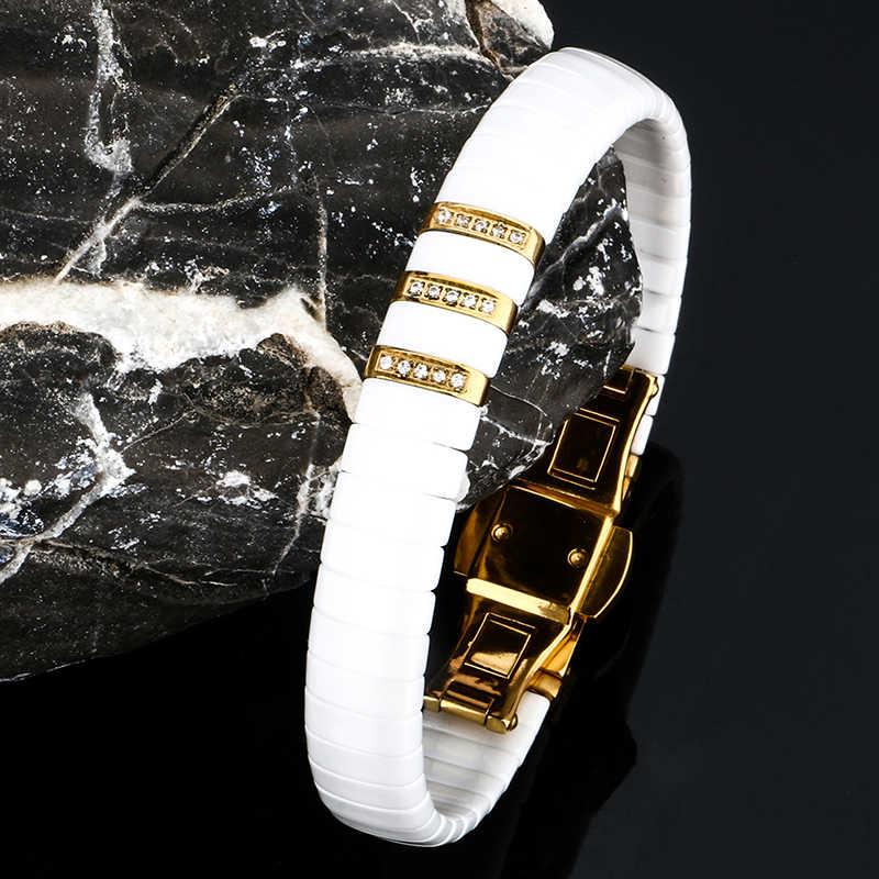 Gorący czarny biały ceramiczny bransoletka mężczyzn kobieta 316L ze stali nierdzewnej kryształ Rhinestone złota bransoletka łańcuszek na rękę zegarek zapięcie