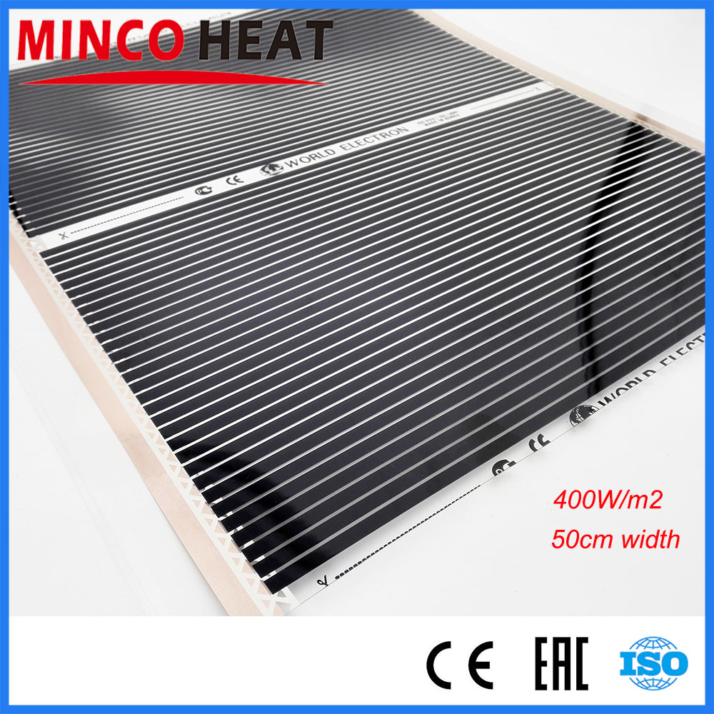400W/m2 50cm Width High Temperature Far Infrared Therapy Stream Room Carbon Heating Mat Film