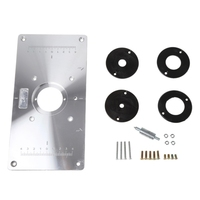 Aluminum Router Table Insert Plate W 4 Rings Screws For Woodworking Benches Jan16 Y122