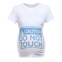 6016f0b1c Women Maternity Tops T-shirt Pregnancy Clothes Short Sleeve don't Touch  Funny Letter
