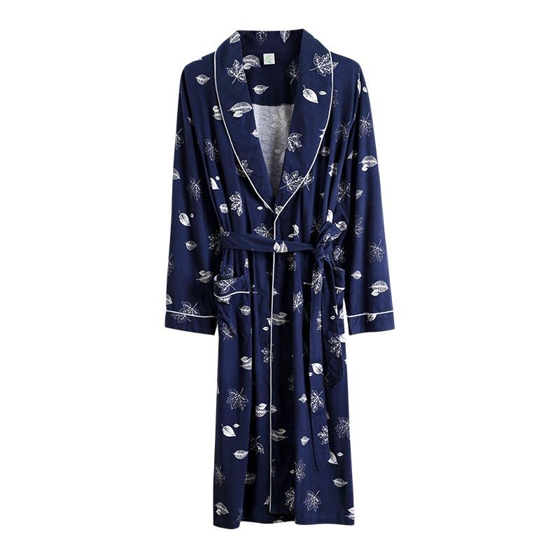 Autumn Men's Robe 100% Cotton Maple Leaf Print Loose Comfortable Long Sleeve Kimono Spring Robes home clothing nightly Bathrobes