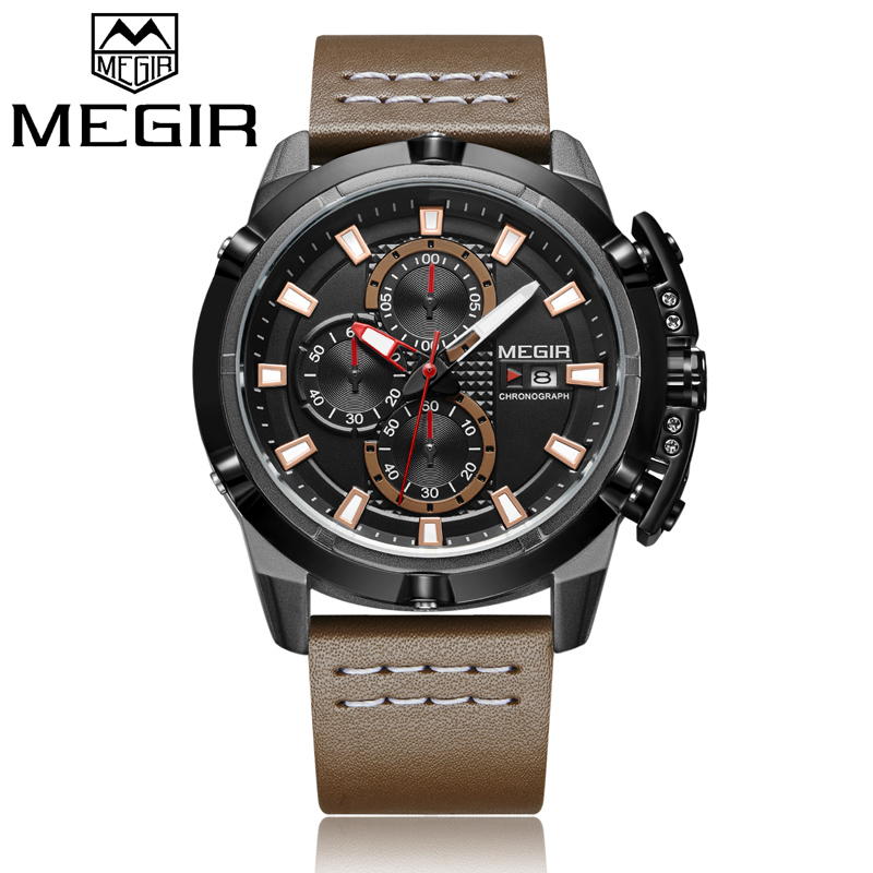 2018 MEGIR Men Quartz Watch Mens Fashion Sport Watches Man Military Waterproof Leather Strap Analog Clock Relogio Masculino megir men s fashion casual chronograph sport watches men waterproof leather quartz watch man military clock relogio masculino