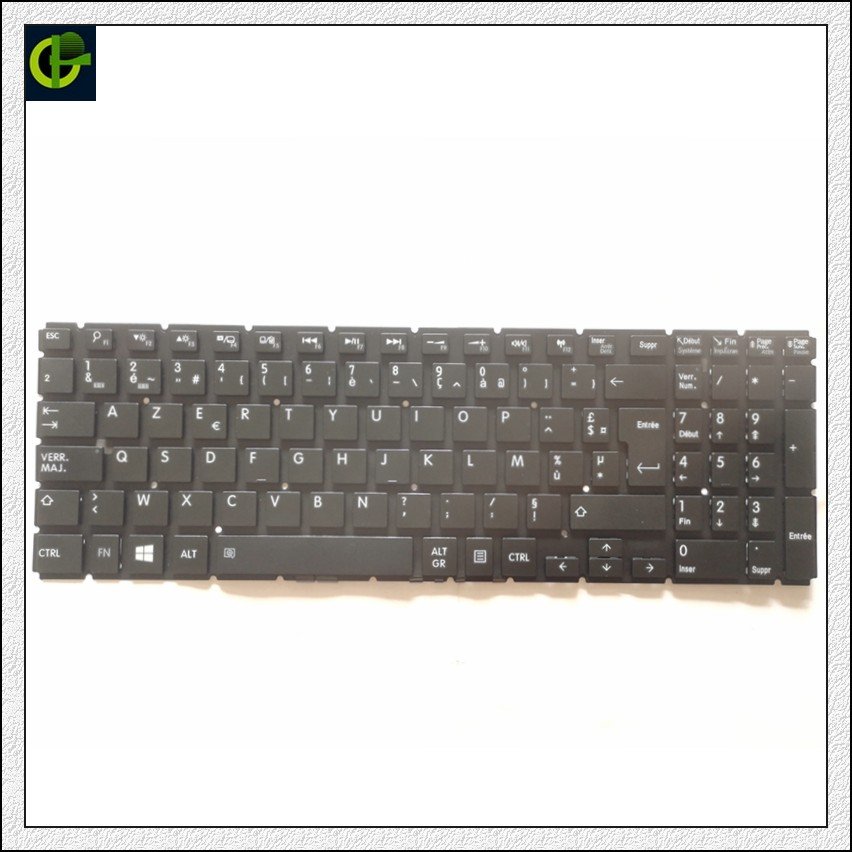 French Azerty Keyboard for <font><b>Toshiba</b></font> <font><b>Satellite</b></font> <font><b>C55</b></font>-C-1LC <font><b>C55</b></font>-C-1LD <font><b>C55</b></font>-C-1LX <font><b>C55</b></font>-C-1HR <font><b>C55</b></font>-C-1HX <font><b>C55</b></font>-C-1L9 FR image
