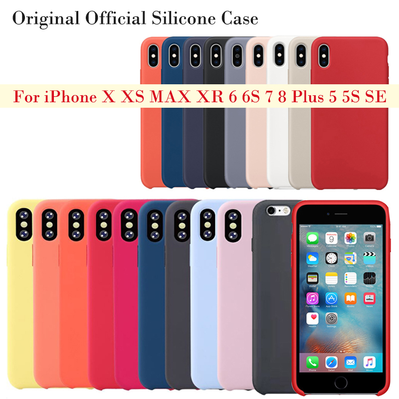 Original Official Style Silicone Case For iPhone X XS MAX XR apple Case For iPhone 7 8 6 6S Plus 5S SE Cover Capa(China)