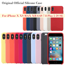 Original Official Style Silicone Case For iPhone X XS MAX XR apple Case For iPhone 7 8 6 6S Plus 5S SE Cover Capa