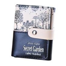 2019 Fashion Women Wallet Secret Garden Patchwork Letter Printed PU Coin Purse Short Wallet Card Holders Wallet Women carteira