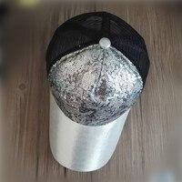 2016 LGF5404 Unisex Adult Sequins Plastic Mesh Baseball Cap Snapback Trucker Hat