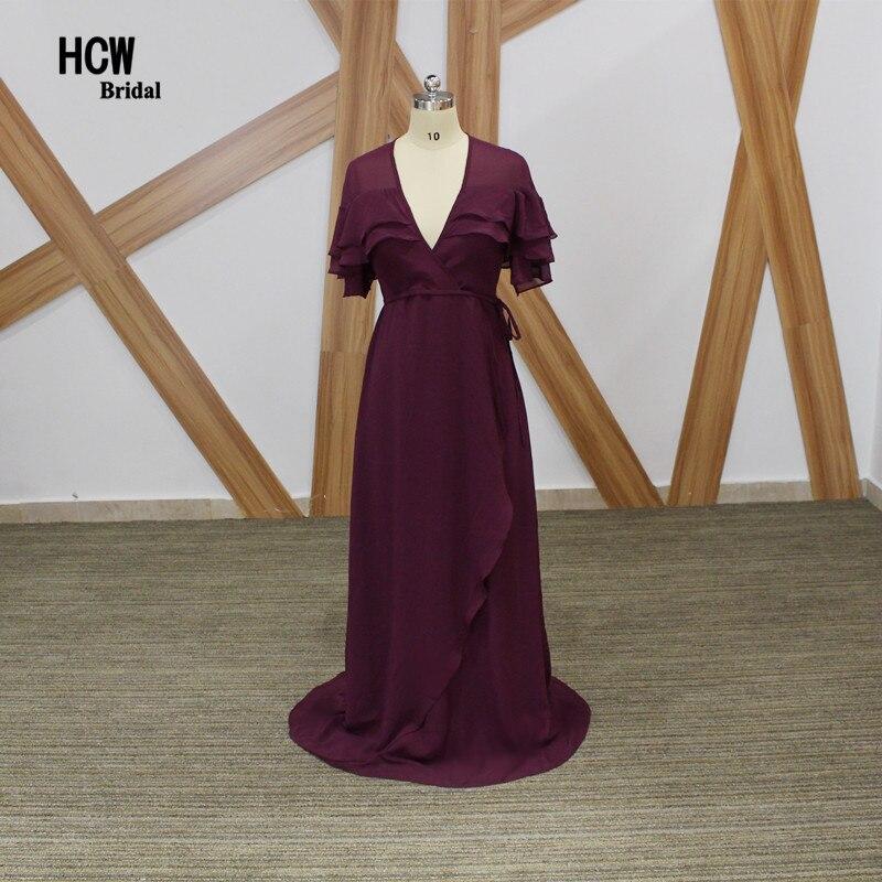 Елегантна дълга официална вечерна рокля 2019 Лилава шифонна дължина на пода с къс ръкав с висока талия Бременни жени вечерни рокли Евтини