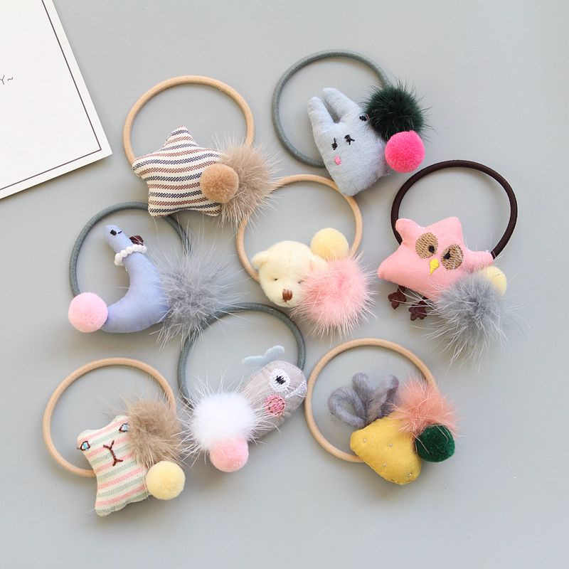 ideacherry Brand Handmade Children Hair Rope Cute Animals Ornaments Baby Elastic Hair Bands Princess Girls Jewelry Hair Ring