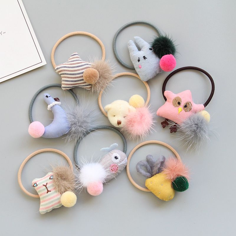 ideacherry Brand Handmade Children Hair Rope Cute Animals Ornaments Baby Elastic Hair Bands Princess Girls Jewelry Hair Ring 1pcs hair accessories pearl elastic rubber bands ring headwear girl elastic hair band ponytail holder scrunchy rope hair jewelry