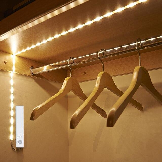 Беспроводной ночник с датчиком движения, 1 м, 2 м, 3 м, с питанием от аккумулятора, под кроватью, для шкафа, шкафа, для лестниц коридора