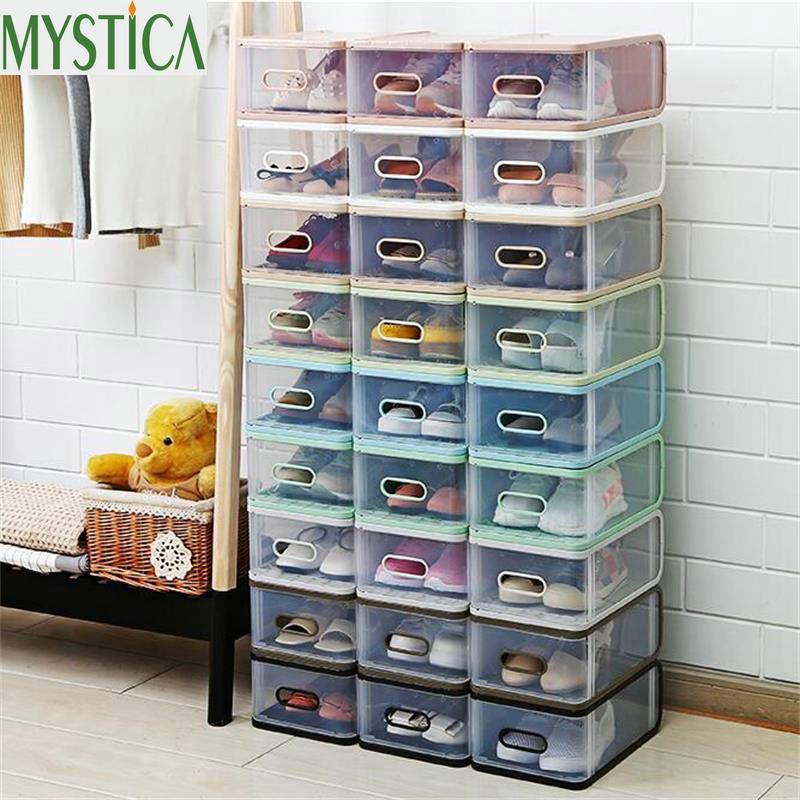 4PCS Eco-Friendly Shoe Storage Box Case Transparent Rectangle Plastic Storage Box Rectangle PP Shoe Organizer Thickened Shoe Box