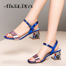 AIKELINYU Women High Heels Peep Toe Ladies Party Shoes Rhinestone Chunky Heel Female Casual Sandals Fashion Women Summer Shoes summer new sandals chunky heel floral silver wedding dress shoes rhinestone luxurious genuine leather prom party high heels