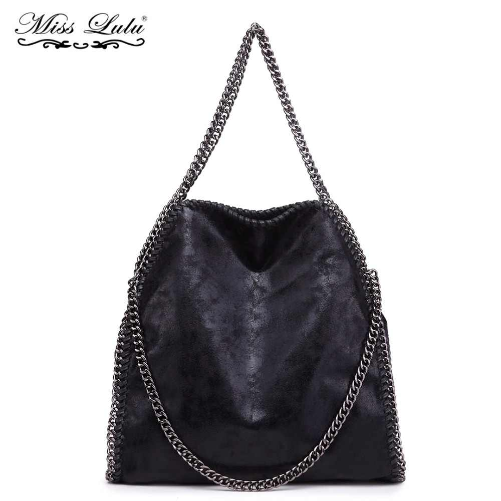 Miss Lulu Women Falabellas Leather Hobo Bags Shoulder Bags Chains Bolso  Socialite Tote Bag Sac A 2a48da8dc379d