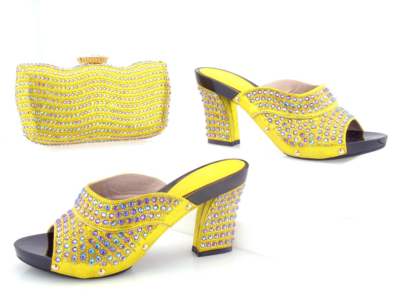 HMS-003 bright yellow many stones high quality shoes matching clutches bag for african aso ebi party shoes bag set for aso ebi недорго, оригинальная цена