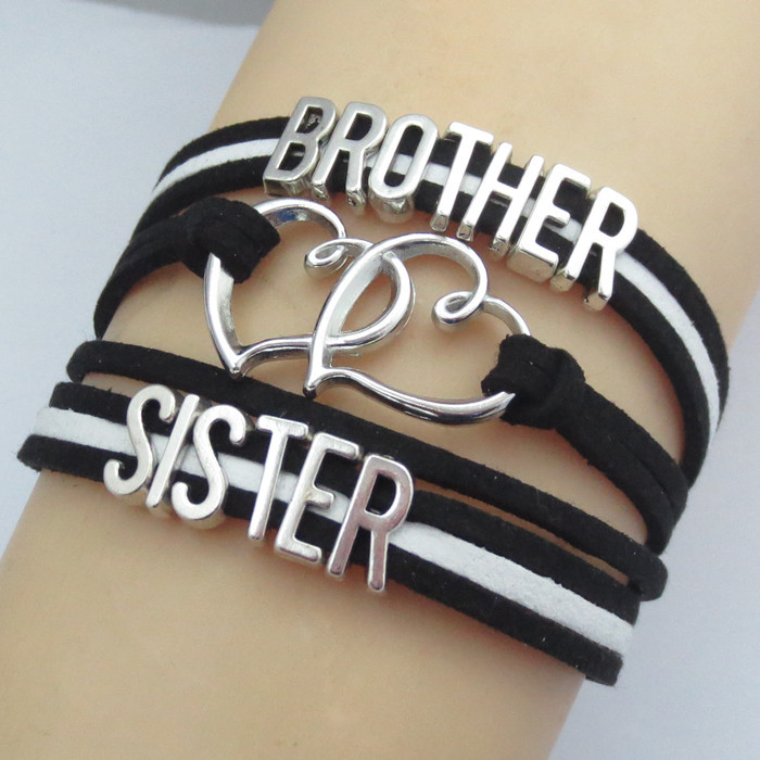 fashion brother and sister bracelets charm brother's love for sister gift best wishes for brother and sister bangle
