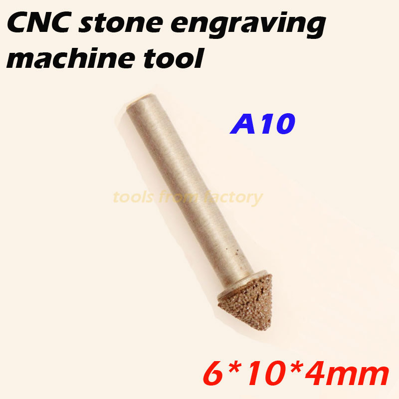 1pc 6*10*4mm cnc router diamond stone carving tool stone engraving machine cutter stone cutting bits A10 60 angle 4 0 4mm tip sharp three edge cnc router carving tool engraving bits 10pcs carbide cutting machine tools free ship