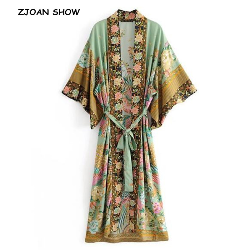 Bohemian V Neck Peacock Flower Print Long Kimono Shirt Ethnic New Lacing Up With Sashes Long Cardigan Loose Blouse Tops Femme